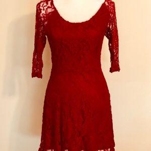 Burgundy Stretchy Lace Skater Dress
